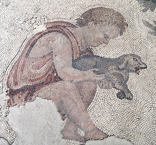 Roman mosaic of boy with puppy